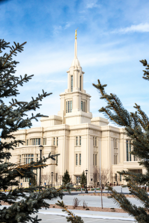 The side of the Payson Utah Temple seen through tree branches during the day.