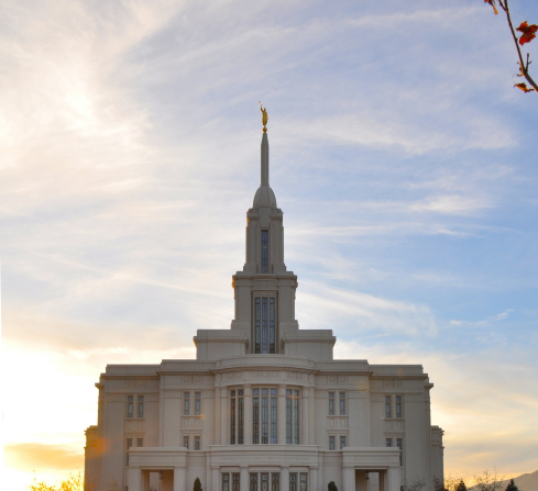 A view of the east side of the Payson Utah Temple during sunset.