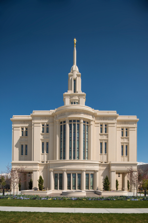 A view of the entire west side of the Payson Utah Temple during the day.