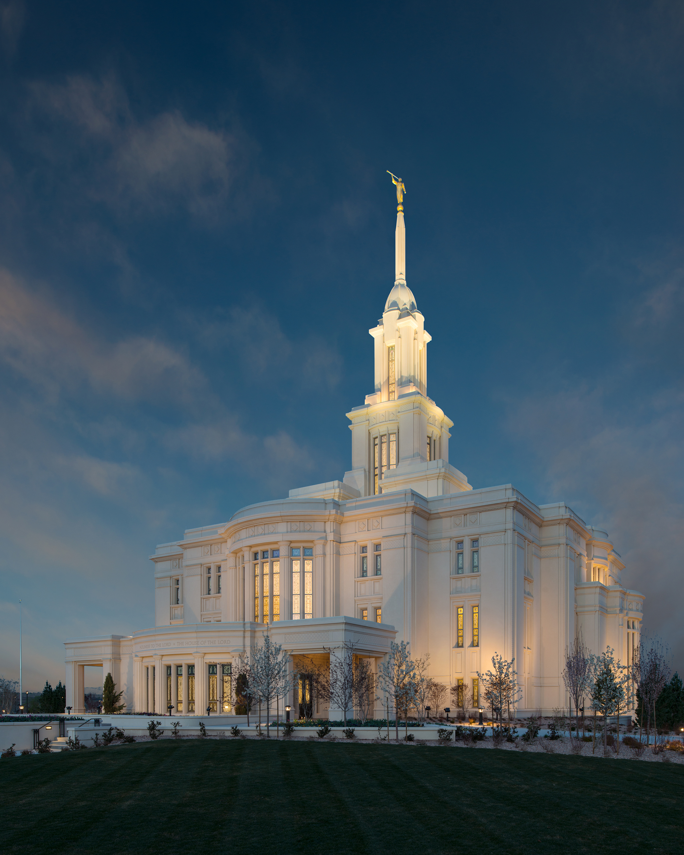 Payson Utah Temple During The Evening