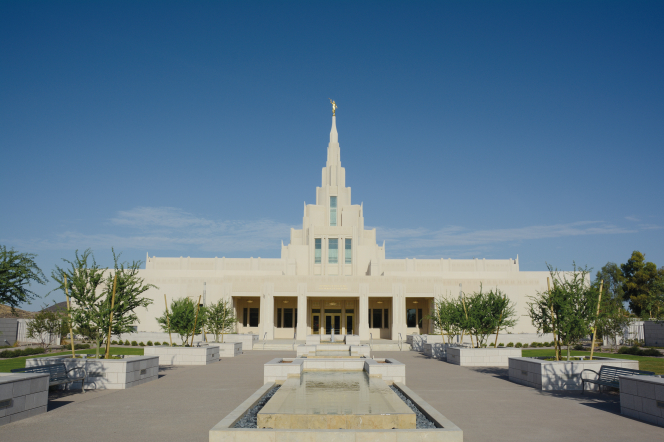A view of the Phoenix Arizona Temple entrance, including scenery.