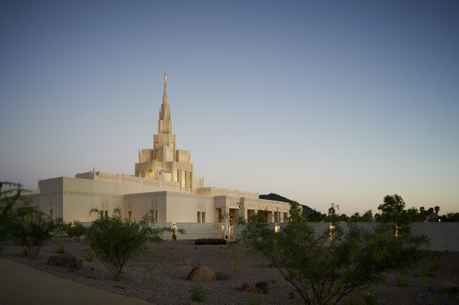 The Phoenix Arizona Temple during sunset, including scenery and a clear sky.