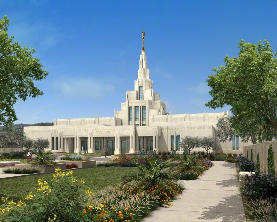 An artist's rendition of the Phoenix Arizona Temple on a sunny day, with trees and flowers on the grounds and people walking on the sidewalks toward the entrance.