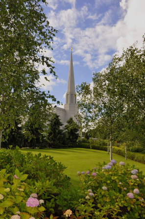 The spire on the Preston England Temple seen from afar between green trees growing near the temple, with some flowers growing in the foreground.
