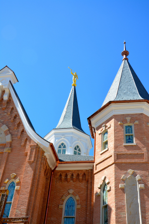 A close-up view of two of the spires of the Provo City Center Temple, one with the angel Moroni.