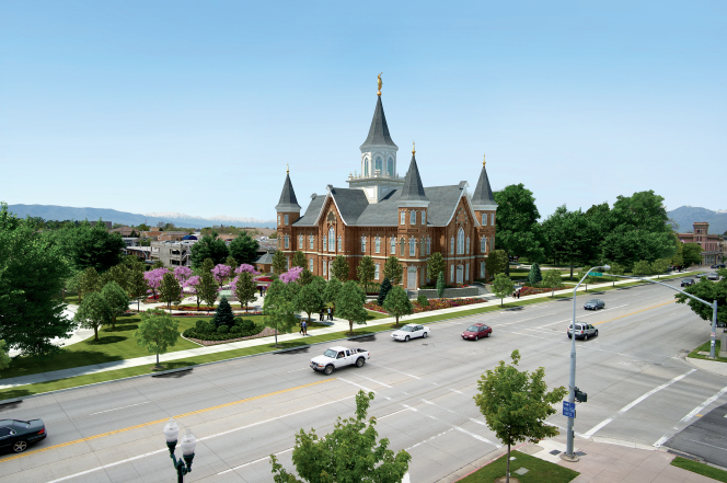 An artist's rendition of the Provo City Center Temple from afar, showing cars driving on the nearby roads and a clear blue sky overhead.