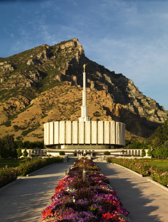 The front of the Provo Utah Temple in the late afternoon, with a row of flowers leading up toward the temple and a large mountain in the background.