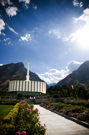 The entire Provo Utah Temple, with a view of the path on the grounds leading up to the temple.
