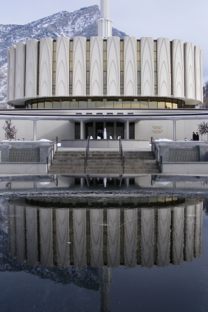 The reflecting pond in front of the Provo Utah Temple, with a partial reflection of the temple.