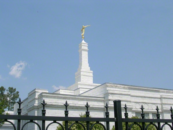 The spire of the Raleigh North Carolina Temple, with the angel Moroni on top.