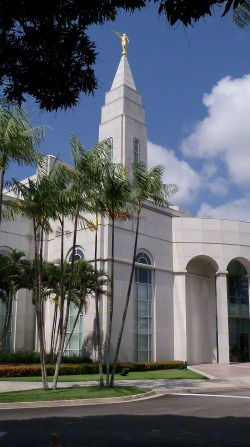 A partial side view of the Recife Brazil Temple through trees on the grounds around the temple, including a view of some arches and the spire.