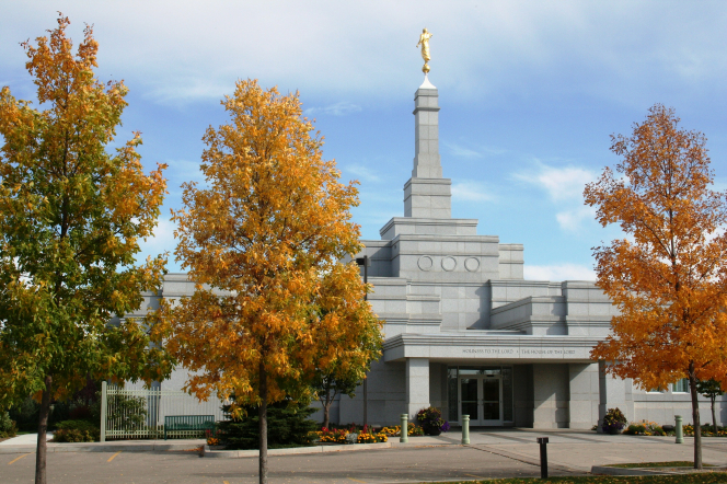 The Regina Saskatchewan Temple entrance and scenery on an autumn day.