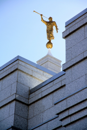 The angel Moroni on top of the spire of the Reno Nevada Temple.