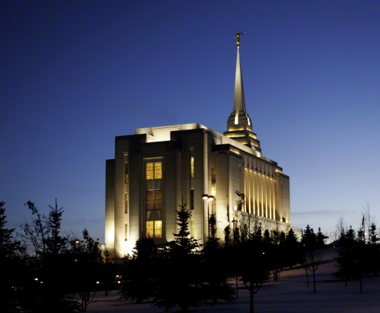 The back of the Rexburg Idaho Temple lit up at night, with a view of the trees on the temple grounds.
