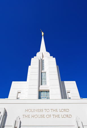 The front spire of the Rexburg Idaho Temple, with the angel Moroni on top.