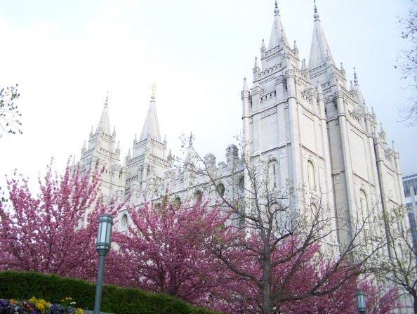 A partial side view of the Salt Lake Temple, with flowering trees on the grounds of the temple in the foreground.