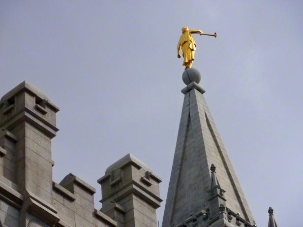 The angel Moroni on top of the Salt Lake Temple spire.