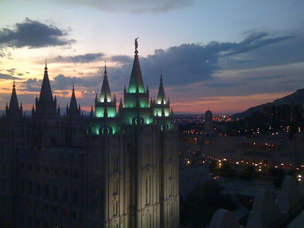 The Salt Lake Temple in the evening, including the city.