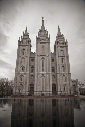 The front of the Salt Lake Temple, with the reflecting pond below it.