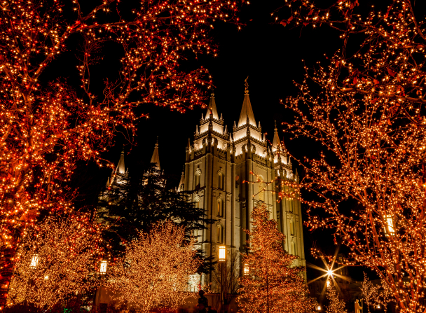 A view of the Salt Lake Temple lit up at night, framed by trees covered in Christmas lights on the temple grounds.