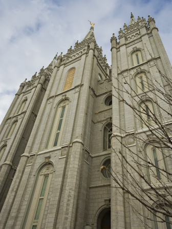 A view up the front three spires of the Salt Lake Temple.