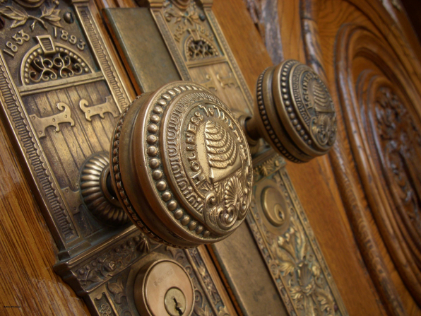 The doorknobs on the doors of the Salt Lake Temple.