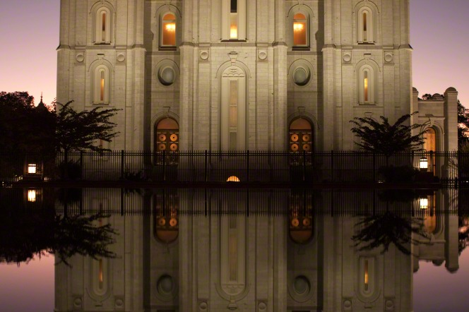 The reflecting pond on the grounds of the Salt Lake Temple, with the temple's reflection in the late evening.