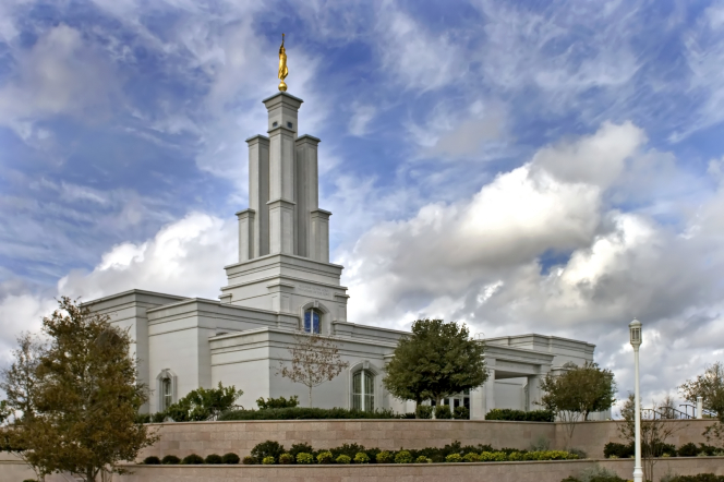 The San Antonio Texas Temple, with a view of the grounds and the angel Moroni statue on top of the spire.