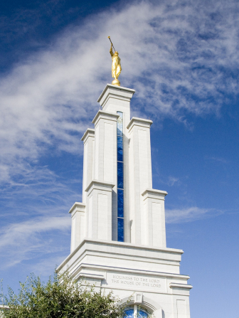 The spire of the San Antonio Texas Temple, with the angel Moroni on top.