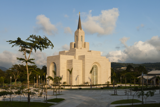The entire San Salvador El Salvador Temple, with a view of the grounds, including trees and the fence surrounding the grounds.