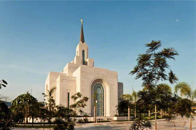 The San Salvador El Salvador Temple, with a view of the trees on the grounds.