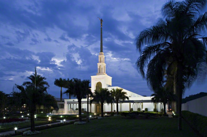 The São Paulo Brazil Temple lit up at night, with silhouettes of the trees on the grounds.