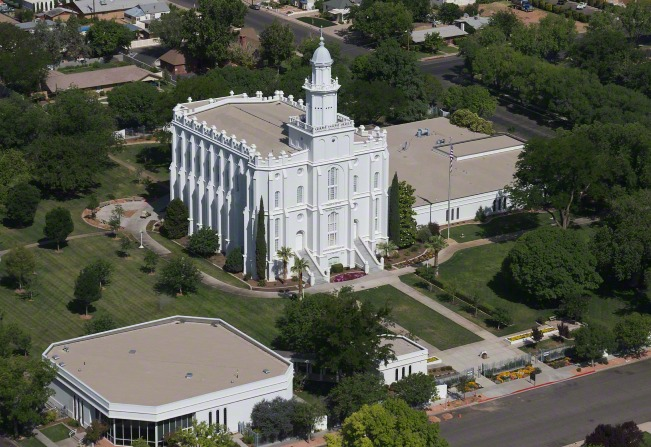 An aerial view of the entire St. George Utah Temple, with the surrounding grounds and the visitors' center.