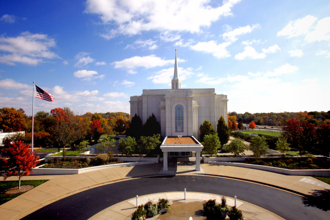The entire St. Louis Missouri Temple, with a view of the grounds all around the temple and the road that leads up to the entrance of the temple.