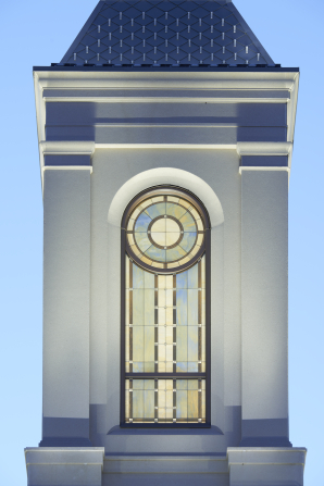 An image of the steeple on the Star Valley Wyoming Temple.