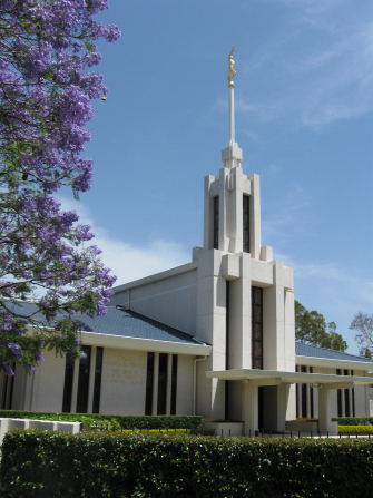 A partial view of the front of the Sydney Australia Temple, with the grounds, including bushes and a purple flowering tree.