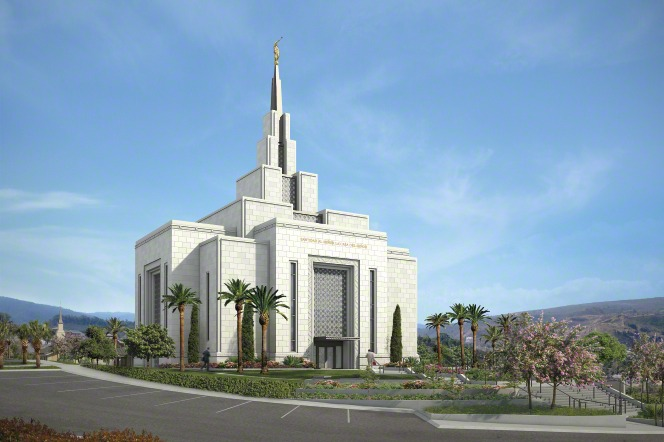 A view of the entire Tegucigalpa Honduras Temple, with the grounds, including palm trees and bushes.