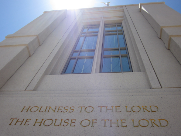 """The inscription on The Gila Valley Arizona Temple, """"Holiness to the Lord: The House of the Lord."""""""
