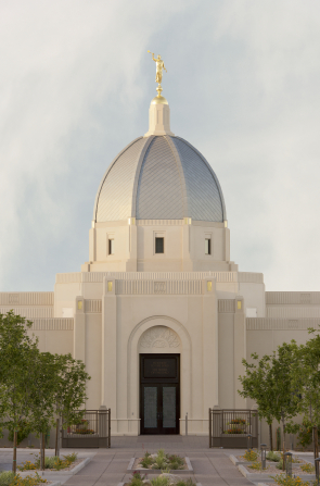 A photograph of one of the entrances of the Tucson Arizona Temple.