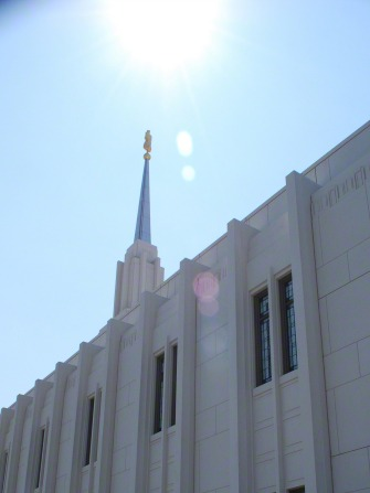 A view of the Twin Falls Idaho Temple spire with the angel Moroni.