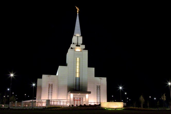 The entire Vancouver British Columbia Temple lit up at night.