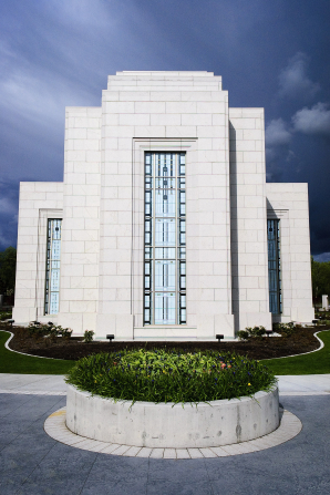The back of the Vancouver British Columbia Temple, with the windows and grounds.