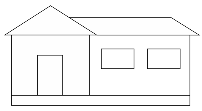 A black and white line drawing of a simple house on a large foundation