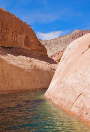 Red rocks line Lake Powell in Utah, with blue sky above and water below.