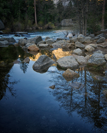 Mountains and trees at Yosemite National Park are reflected in water near large rocks.