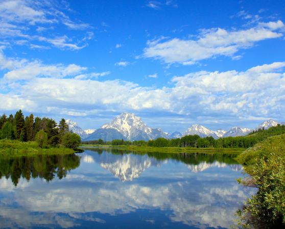The Snake River runs by the Grand Teton Mountains in Wyoming, with green trees on either side and a blue sky above.