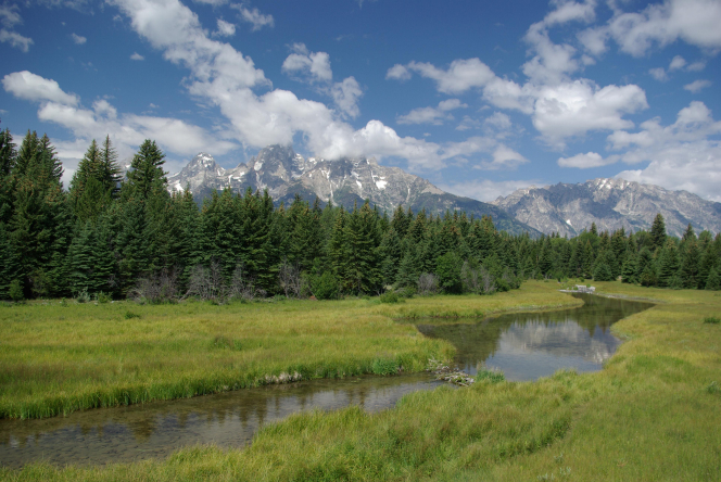 A river runs through Grand Teton National Park with the mountain range and pine trees in the background.