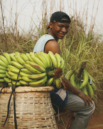 A young African man sitting on a bike seat, carrying a large bunch of bananas on his front handles and on a woven basket behind the seat.