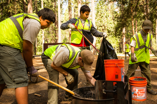 Boy Scouts in fluorescent vests doing a service project by cleaning coals out of a fire pit at Yosemite National Park.