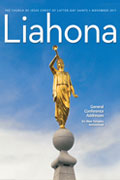 Liahona magazine cover. Moroni statue playing trumpet